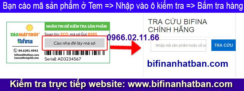 Kiểm tra Mã hàng Chính hãng Bifina